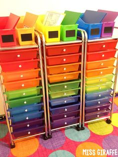 Rainbow drawers cart on wheels is perfect for classroom organization to store reading centers, math centers, or anything students use - I love these!