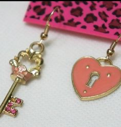 Betsey Johnson Pink Heart And Key Earrings