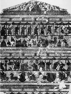 Wu Liang shrine 武梁祠西壁画像·东汉·石· 186×136cm 山东嘉祥  第一層:山牆銳頂部分,中間西王母,兩側侍女;右側鳥,蟾蜍,玉兔搗藥;左側龍,二羽人,人首鳥身  第二層:自右而左,刻遠古帝王十人,各有榜題。首刻二神人,人身蛇尾相交,應是伏羲、女媧。  其次為祝融、神農、黃帝、顓頊、帝嚳、帝佶、帝堯、舜、禹、夏桀。   第三層:自左而右刻分別為丁蘭刻木、老萊子娛親、閔子騫御車失棰、曾母投杼,皆為孝子故事。   第四層:自左而右刻三則刺客故事。分別為荊軻刺秦王、專諸刺王僚、曹子劫桓的故事。  第五層:車馬出行圖(縣公曹迎處士:武梁本人事跡)