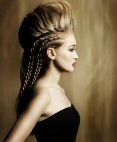 hair show, plat more hair into dress