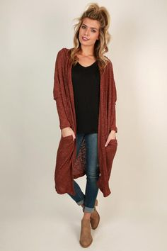 Cozy up fireside with this sweet cardigan, complete with a hood and pockets! Maroon Cardigan Outfit, Fall Cardigan, Cardigan Outfits, Dress With Cardigan, Kimono Cardigan, Long Cardigan, Mom Outfits, Fall Outfits, Casual Outfits
