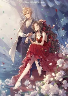 This is epic Cloud & Aeris Art of Final Fantasy Creator is unknown. Watch me playing FINAL FANTASY 7 Ahead On Our Way with piano! Final Fantasy Cloud, Final Fantasy Artwork, Final Fantasy Characters, Final Fantasy Vii Remake, Fantasy Series, Cg Artwork, Cloud Strife, Animation, Anime Couples