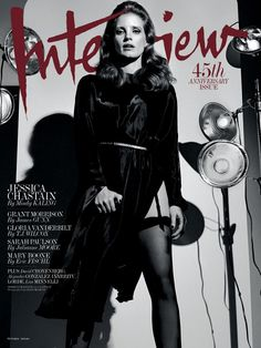 Actress Jessica Chastain wears a La Perla garter throughout Interview Magazine's cover editorial.