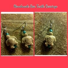 Beige Sea Turtles With Turquoise Earrings Handmade and Design By Liz ( The hooks are silver plated) Trade $16 Design By Liz  Jewelry Earrings
