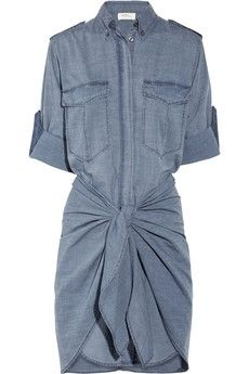 Adorable Chambray Dress (I. I like how it's not boxy and gives some shape. Isabel Marant, Denim Fashion, Fashion Outfits, Women's Fashion, Long Shirt Dress, Denim Cotton, Chambray Dress, Pretty Outfits, Passion For Fashion