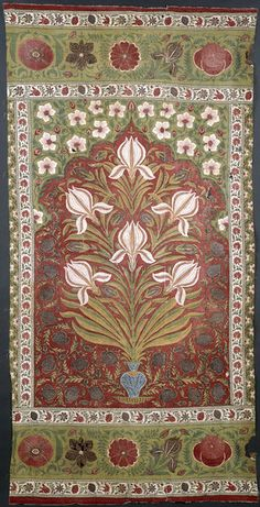 Mughal cotton panel, painted, block printed and dyed, India, late 17th-early 18th c.