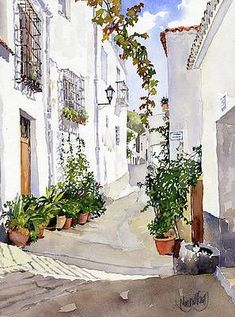 Watercolor Art Paintings, Watercolor Drawing, Watercolor Landscape, Watercolor Flowers, Painting & Drawing, Watercolor Architecture, Art And Architecture, Building Painting, Art Impressions Stamps