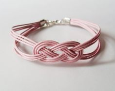 My DIY: Pink Leather Strap Bracelet with Sailor Knot by starryday
