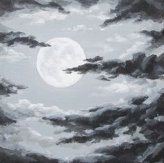 Original Night Sky Painting, Moon and Clouds, Cloudy Night Sky Art ...