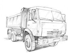 Как нарисовать грузовик карандашом поэтапно 4