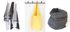 Tea towels Elegant & Hangin' around - black. DIY bag fabric Match - yellow. DIY pouch fabric Match - black. www.toffestoffen.com