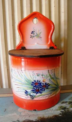 Antique French enameled JAPY SALT BOX Cornflowers handpainted