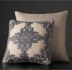 Embroidered Spanish Tile Pillow Cover