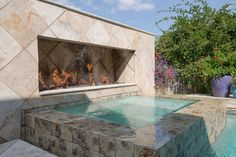 Traditional Hot Tub with Fence, exterior stone floors