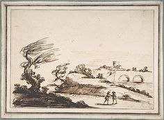 Landscape with Figures and a Two-Arched Bridge.