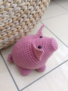 Crochet doorstop pig. By Alison.