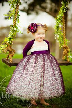Classic Ivory Flower Girl Dress w/ Plum Lace by littledreamersinc, $120.00