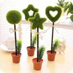 Verde erba vaso di fiori penna di scrittura penna a sfera scuola carino cartoleria regalo