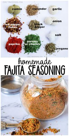 Homemade Fajita Seasoning Mix Recipe - Crafty Morning Make this homemade fajita seasoning mix recipe for your chicken, beef, shrimp, etc! Fajita spice mix you can store in a jar and keep. Homemade seasoning mix for mexican fajitas. Homemade Spice Blends, Homemade Spices, Homemade Seasonings, Spice Mixes, Homemade Recipe, Homemade Dry Mixes, Fajita Seasoning Mix, Fajita Spices, Homemade Fajita Seasoning