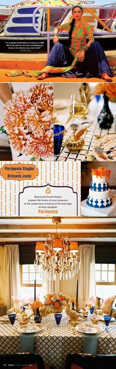 Our Jaipur invitation is featured in this orange and blue inspiration board!