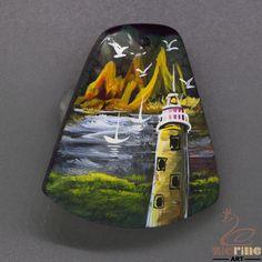 handmade art Jewelry Pendant Hand Painted LightHouse  stone necklace ZL804846 #ZL #Pendant