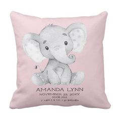 GIRL Elephant Baby Birth Stats Pillow - individual customized unique ideas designs custom gift ideas