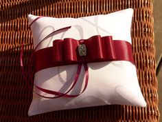 Wedding Ring Pillow, Robin Egg Blue Ribbon Pillow, Lace,Rhinestone Centered Satin Bow,tiffany blue,rustic wedding, wedding pillow on Etsy, $34.00