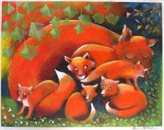 Cunning Little Vixen I by Finnish artist Raija Nokkala Naive Art, Funny Art, Vixen, Folk Art, Cute Pictures, Fairy Tales, Original Art, Illustration Art, Cute Animals