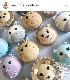 Rule Kikids Party Pic a través de . Cupcake Tier, Fondant Cupcake Toppers, Kid Cupcakes, Animal Cupcakes, Themed Cupcakes, Cupcake Cookies, Baby Cakes, Cupcakes Bonitos, Safari Cakes