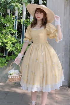 Ruby Rabbit -Summer Wind- Classic Casual Lolita OP Dress Kawaii Fashion, Lolita Fashion, Cute Fashion, Look Fashion, Fashion Design, Fashion Boots, Pretty Outfits, Pretty Dresses, Cute Outfits