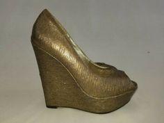 Steve Madden Women's Goldtone Open Toe Pump Wedge Heel Size 8.5 #heels (ebay link) Slip On Mules, Classic Pumps, Platform High Heels, Black Quilt, Women's Pumps, Wedge Heels, Open Toe, Steve Madden, Link