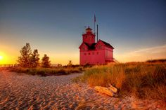 Big Red Lighthouse in Autumn - Holland Michigan