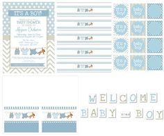 Free Printables for boy baby shower: Invitations, food cards, cupcake toppers or favor tags, water bottle labels and a party banner.