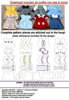 """18 """"doll clothes - suitable for American Girl . In The Hoop Embroidery . 18 """"doll clothes – suitable for American Girl …. # …… In The Hoop Embroidery ……. Sewing Dolls, Ag Dolls, Girl Dolls, Blythe Dolls, Barbie Doll, Doll Dress Patterns, Clothing Patterns, Sewing Patterns, Shirt Patterns"""