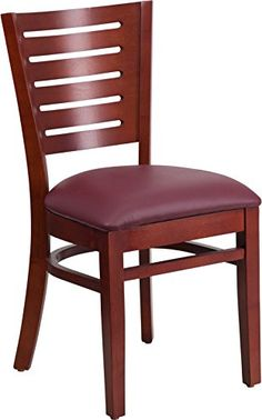 Commercial Quality Slat Back Mahogany Wood Finish Restaurant Chair with Burgundy Vinyl Seat