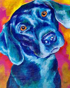 Black Lab Pop art Painting by Christy Freeman - Black Lab Pop art Fine Art Prints and Posters for Sale