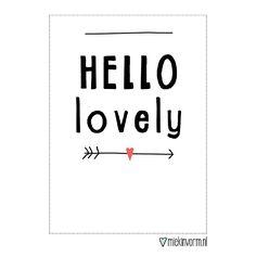 Kaart Hello lovely  #geboorte #baby #babykamer #kinderkamer #kaart