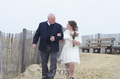 Father escorts bride down the aisle during her Bethany Beach, DE Wedding.  Image by Rox Beach Weddings:  https://www.roxbeachweddings.com/