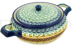 Polish Pottery Stoneware BAKER W/COVER W/HANDLES - clearance