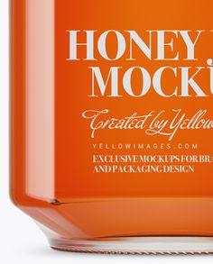 900ml Pure Honey Glass Jar w/ Clamp Lid Mockup –  Front View (Eye-Level Shot)