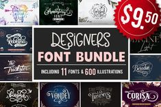 Designers font Bundle 11 Fonts #fontbundle #bestsellingfonts #crafterfonts