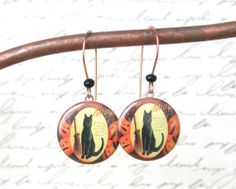 cat earrings vintage Halloween ephemera by TheCalicoCanary on Etsy, $12.95