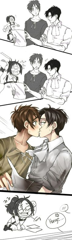 Thanks Hange :3 (I'm like over a 100% sure it wasn't an accident) || Ereri by Kazuyo49