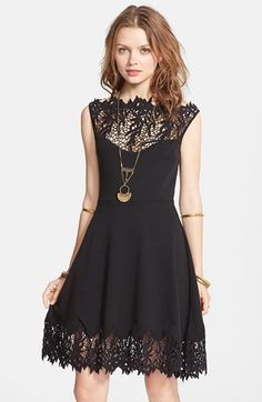 Free shipping and returns on Free People 'Forget Me Not' Crochet Trim Fit & Flare Dress at Nordstrom.com. A web of leafy crochet forms the yoke and trims the hem of a boho-chic stretch-knit dress.