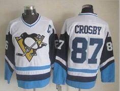 pittsburgh penguins 87 sidney crosby ccm vintage hockey jersey white blue black pittsburgh penguins