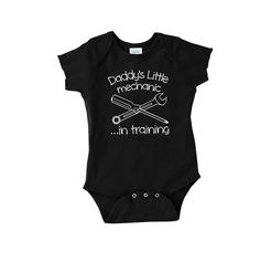 Daddy's Little Mechanic in training funny baby onepiece