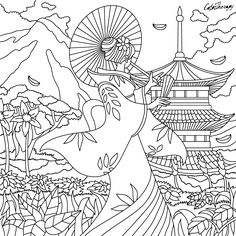 geisha girl color with Color Therapy: http://www.apple.co/1Mgt7E5 #colortherapyapp #adultcoloringbook