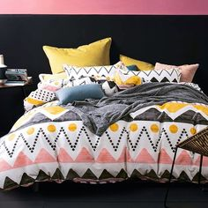 Stylish Coral Yellow Black and White Chevron Stripe Print Southwestern Style Twin, Full Size #Bedding #Bedspread #Bedroom Sets