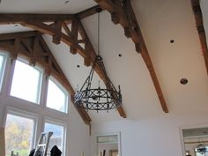 Timber Frame Ceiling Accent #TimberFrame #Log #Custom #Accent #DiscoveryDreamHomes