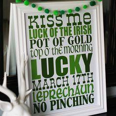 Free Printable St. Patricks's Day subway art